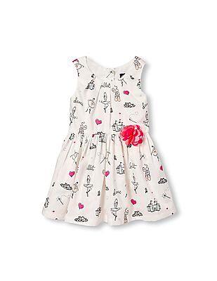 The Children's Place Toddler Girl Sleeveless 3D Rose Printed Dress