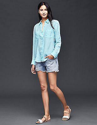 GAP Women Blue Linen Boyfriend Shirt