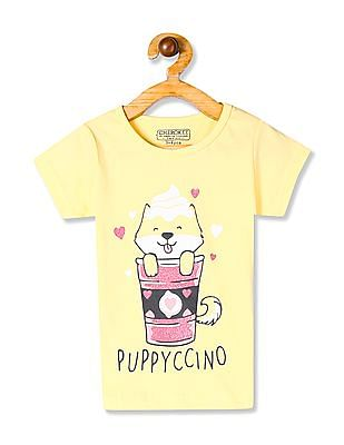 Cherokee Yellow Girls Short Sleeve Graphic T-Shirt