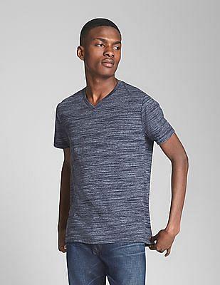 GAP Essential Short Sleeve V-Neck T-Shirt In Spacedye
