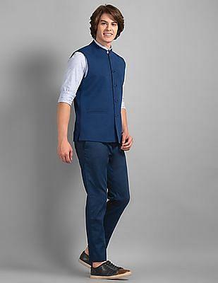 True Blue Blue Patterned Knit Bandi