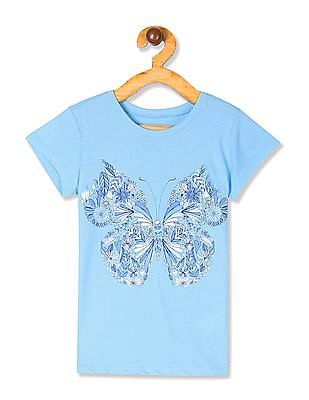 The Children's Place Girls Blue Short Sleeve Glitter Butterfly Graphic Tee