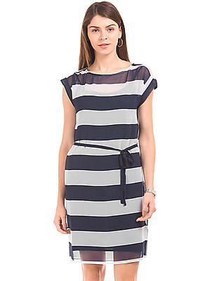 Nautica Sheer Striped Dress With Slip