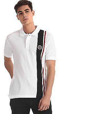 U.S. Polo Assn. White Vertical Stripe Pique Polo Shirt
