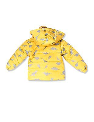 Donuts Yellow Boys Printed Puffer Jacket