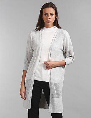 GAP Women Grey Patterned Open Front Shrug
