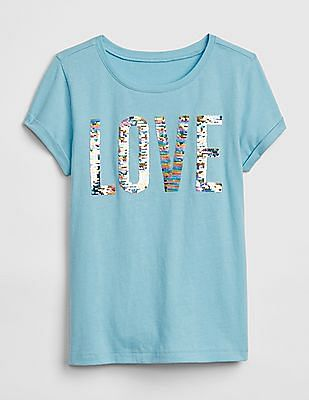 GAP Girls Flippy Sequin Graphic Short Sleeve T-Shirt