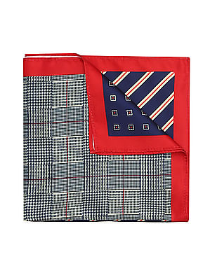 Arrow Contrast Hem Printed Pocket Square