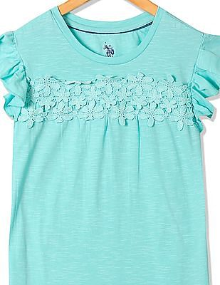 U.S. Polo Assn. Kids Girls Ruffled Crochet Top