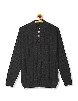 Flying Machine High Neck Cable Knit Sweater