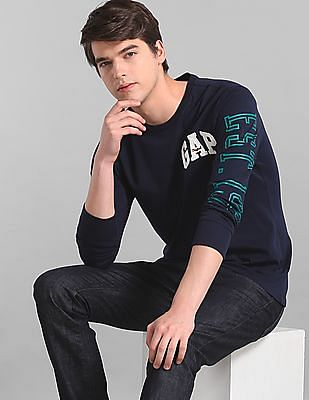 GAP Men Blue Logo Long Sleeve Crewneck T-Shirt
