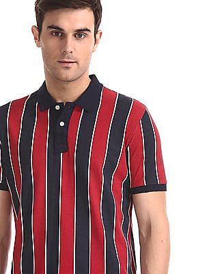 Flying Machine Red And Navy Vertical Stripe Pique Polo Shirt