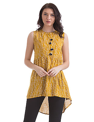 Bronz High Low Hem Printed Tunic