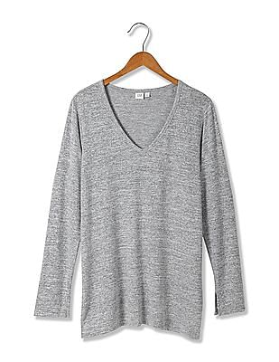 GAP Women Grey Softspun Knit Slit Tunic