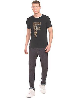 Flying Machine Foil Print Slim Fit T-Shirt