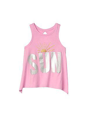 GAP Girls Pink Embellished Graphic Keyhole Tank