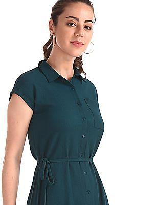 Elle Studio Green Front Slit Solid Shirt Dress