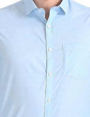 Excalibur Semi-Spread Collar Patterned Shirt