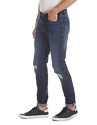 Aeropostale Blue Super Skinny Fit Distressed Jeans