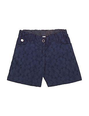 U.S. Polo Assn. Kids Girls Schiffli Cotton Shorts