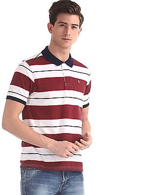 Ruggers Red Regular Fit Striped Polo Shirt