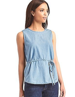 GAP 1969 Denim Open Back Wrap Tank
