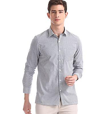 Excalibur Grey Regular Fit Striped Shirt