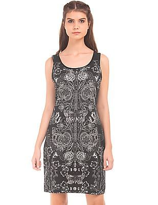 EdHardy Women Print Cutout Back Sheath Dress