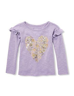The Children's Place Baby And Toddler Girl Long Ruffle Sleeve Foil Graphic Knit Top