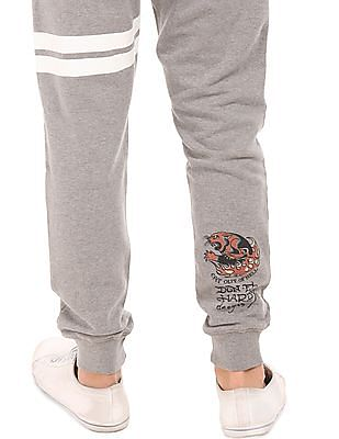 Ed Hardy Heathered Printed Stripe Joggers