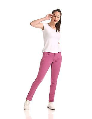 Flying Machine Women Mid Rise Corduroy Trousers