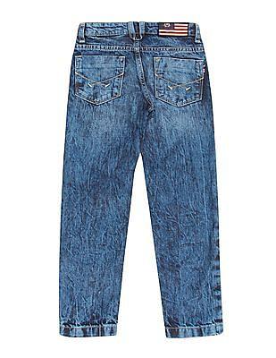 U.S. Polo Assn. Kids Boys Acid Wash Regular Fit Jeans