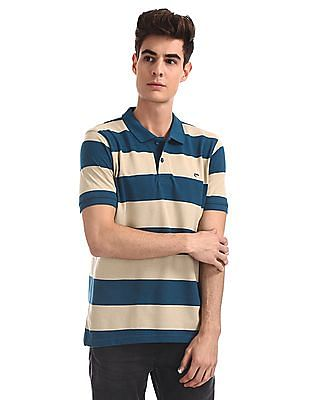Ruggers Blue And Beige Striped Pique Polo Shirt