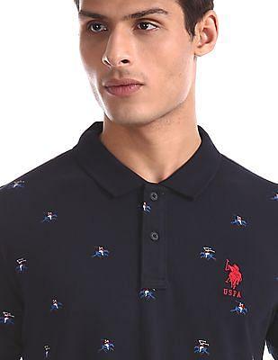 U.S. Polo Assn. Blue Logo Print Pique Polo Shirt