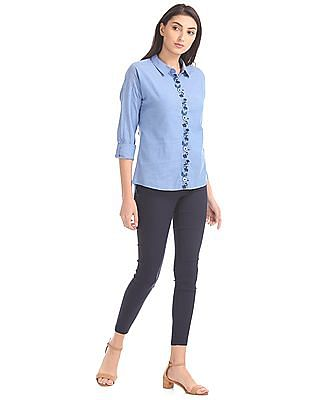 Cherokee Embroidered Placket High Low Top