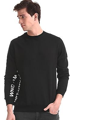 Newport Black Printed Panel Crew Neck Sweatshirt