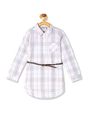 Cherokee Girls Belted Check Tunic