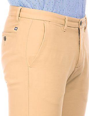 Arrow Sports Slubbed Slim Fit Trousers