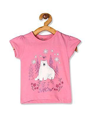 Donuts Pink Girls Round Neck Glitter Print T-Shirt