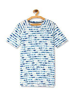 Cherokee Blue Regular Fit Striped T-Shirt
