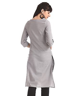 Karigari Grey Upturn Sleeve Printed Kurta