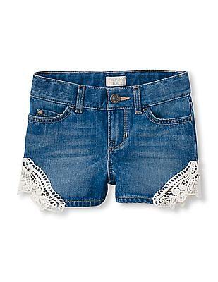 The Children's Place Girls Blue Crochet Flower Denim Shorts
