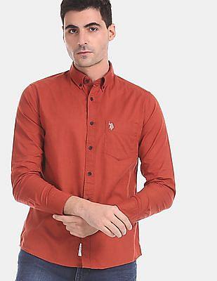 U.S. Polo Assn. Men Red Button Down Collar Solid Shirt