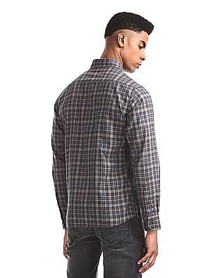 Arrow Sports Navy And Beige Semi Cutaway Collar Check Shirt