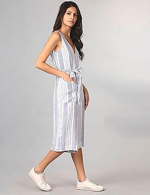GAP Sleeveless Tie-Belt Stripe Jumpsuit In Linen