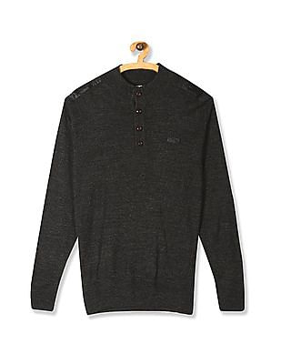 Flying Machine Grey Stand Neck Buttoned Sweater