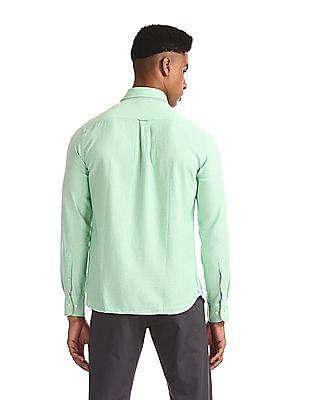 U.S. Polo Assn. Green Solid Button Down Shirt