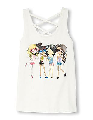 The Children's Place Girls Strappy Back Graphic Tank Top