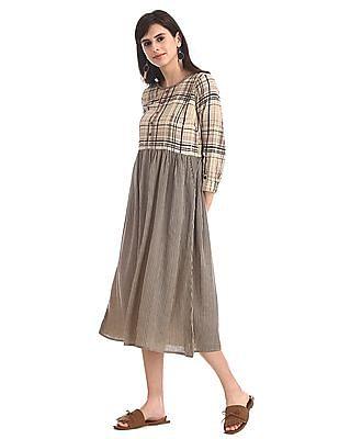 Bronz Beige Round Neck Fit And Flare Dress