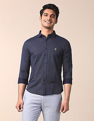 True Blue Slim Fit Knitted Shirt